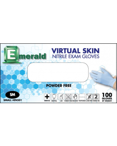 Emerald Nitrile Powder-Free Virtual Skin Exam Gloves 4 Mil X-Large